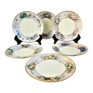 "Hand Painted Antique Floral Plates W/ Gold Trim Set of 6 3/4"" (6) For Sale"