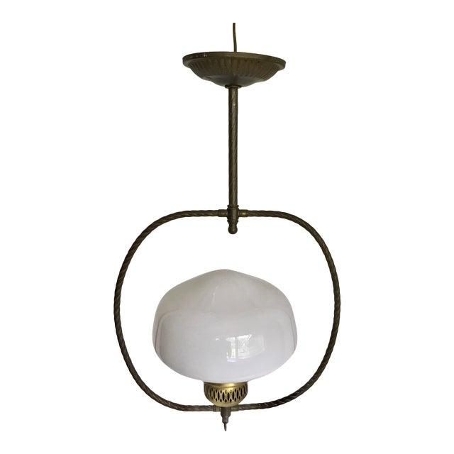 Vintage Brass Oil Lamp Inspired Pendant For Sale
