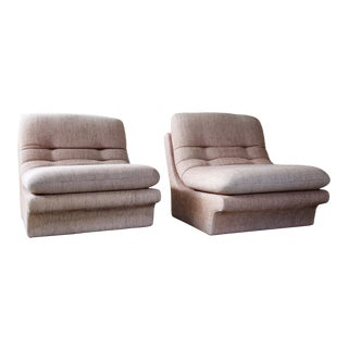 1970s Contemporary Vladimir Kagan Blush Upholstered Sectional Units - a Pair