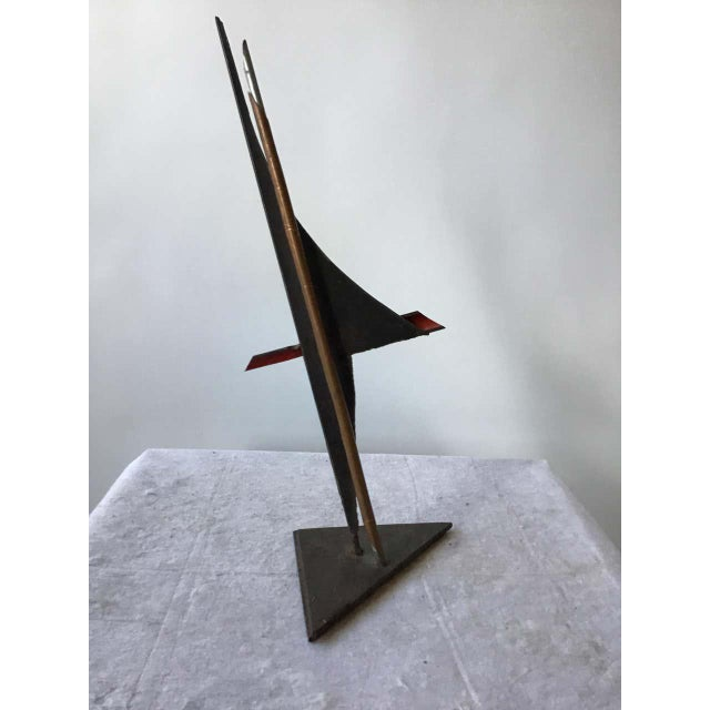 Industrial 1980s Industrialist Iron and Copper Sculpture Signed Bob Lober For Sale - Image 3 of 11