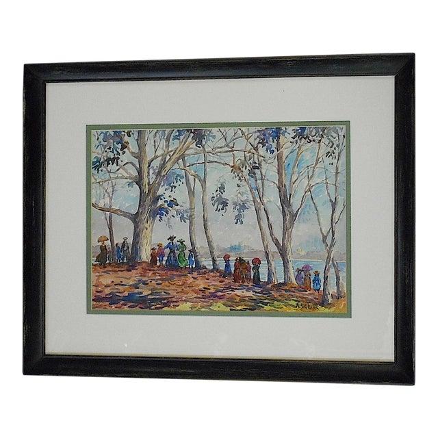 Alice Schille Signed Original Figural Watercolor-Listed American Artist For Sale