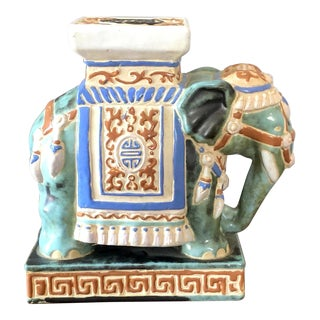 Ceramic Chinoiserie Elephant Garden Stool Plant Stand For Sale