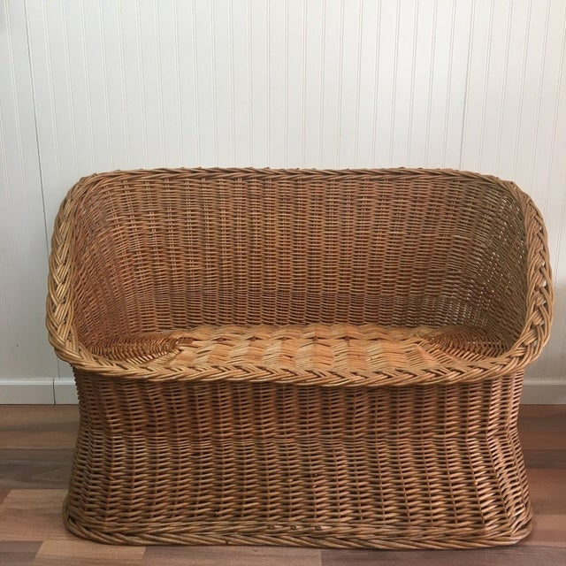 1970s Wicker Tub Settee Natural Rattan Love Seat For Sale - Image 9 of 9