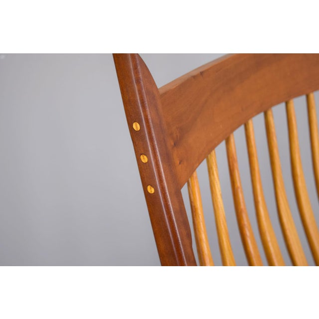 1970s Extraordinary Bench-Made Cherry Rocking Chair, Sam Maloof Style For Sale - Image 5 of 10