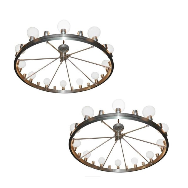 Industrial Round 24-Light Chandeliers - A Pair For Sale In Miami - Image 6 of 6