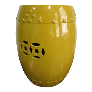 Chinese Sunshine Yellow Ceramic Garden Stool For Sale