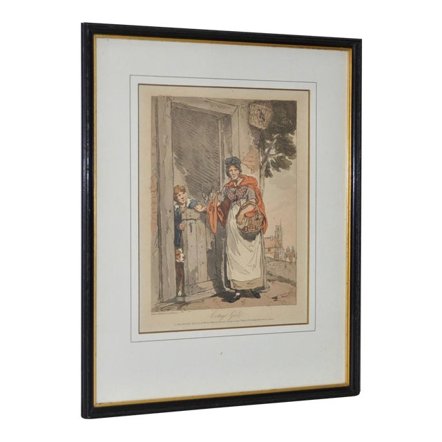 Cottage Girl Hand Colored Engraving C.1807 For Sale