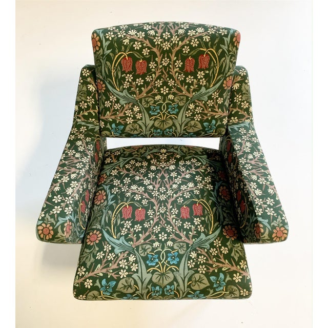 C. 1955 French Lounge Chairs in William Morris Blackthorn, Pair For Sale - Image 9 of 12