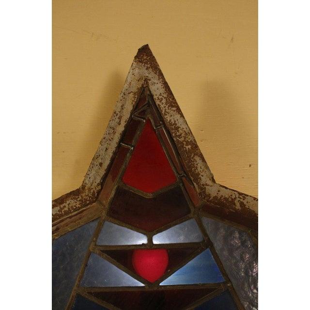 Antique Leaded Art Glass Window Sconces - A Pair - Image 9 of 10