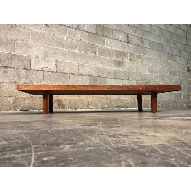 Mid-Century Modern Low Profile Custom Coffee Table With Travertine Top For Sale - Image 4 of 5