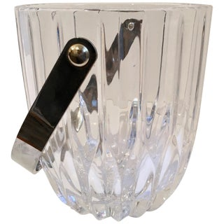 Crystal Ice Bucket With Nickel Handle For Sale
