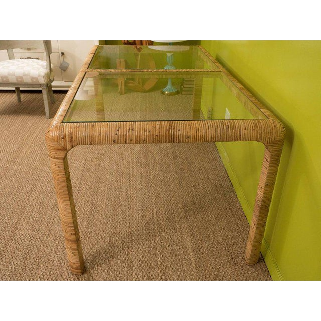 Glass Rattan & Glass Console Table For Sale - Image 7 of 9