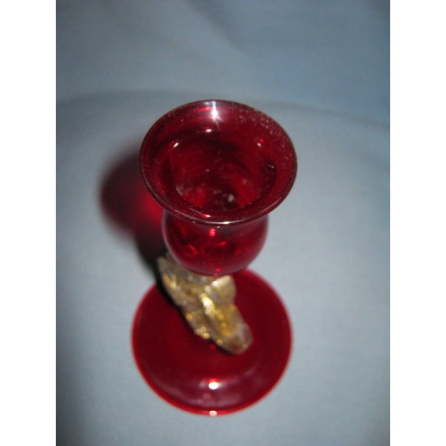 Vintage Venetian Ruby Hand Blown Dolphin Candlestick For Sale - Image 5 of 6