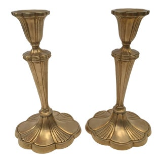 Pair of Art Nouveau Brass Candlesticks For Sale