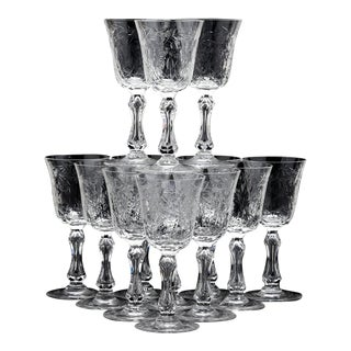 St.Louis, France Set of 12 Cherry Wine Crystal Glasses, Circa 1900 For Sale