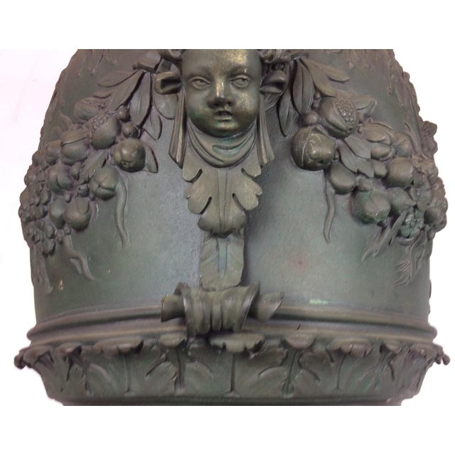 Bronze Antique French Carved Bronze Urn For Sale - Image 7 of 10