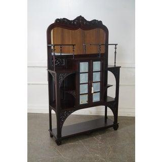 Antique Victorian Mahogany Mirror Back Curio Cabinet Preview