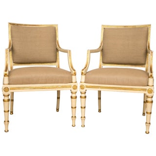 Pair of Neoclassical Parcel-Gilt Upholstered Armchairs For Sale