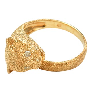 Diamond Eyed Panther Ring For Sale