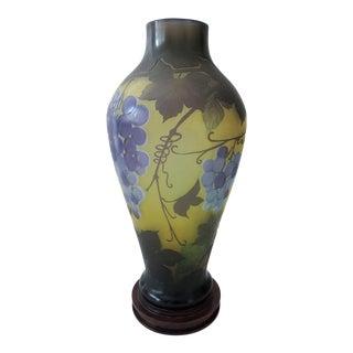 Vintage French Galle Etched Vine & Grape Glass Vase For Sale