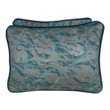 Image of Pair of Blue & Silver Fortuny Accent Pillows For Sale