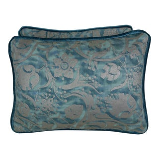 Pair of Blue & Silver Fortuny Accent Pillows For Sale