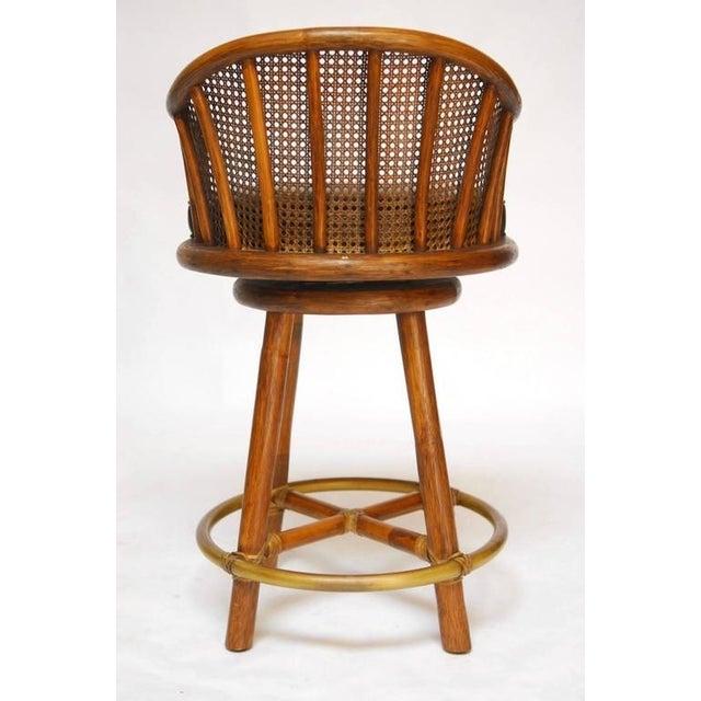 McGuire Bamboo & Cane Swivel Barstools - Set of 4 - Image 10 of 10