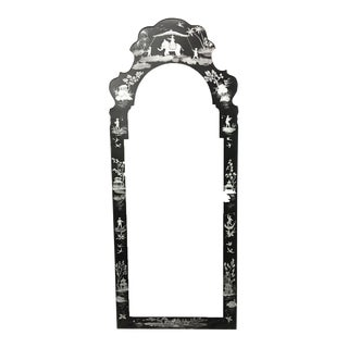 Black & White Painted Chinoiserie Tole Mirror