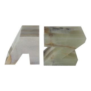 Onyx Modern A & Z Bookends - a Pair For Sale