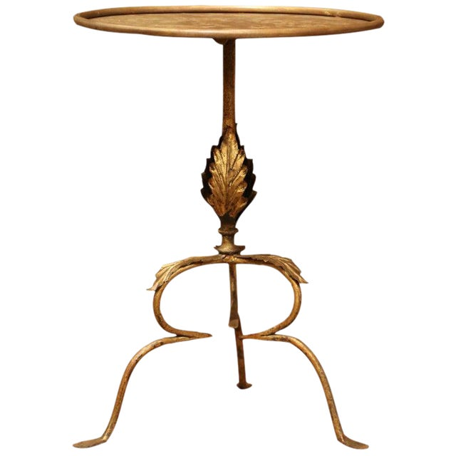 Early 20th Century French Gilt Painted Iron Pedestal Martini Side Table For Sale