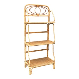 Vintage Mid Century Rattan Etagere Shelf For Sale