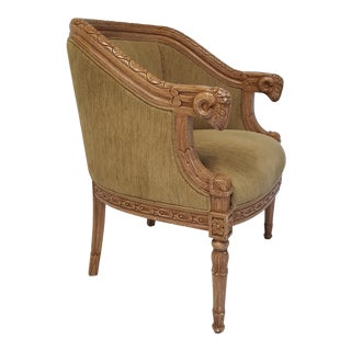 Rams Head Barrel Back Bergere Chair For Sale