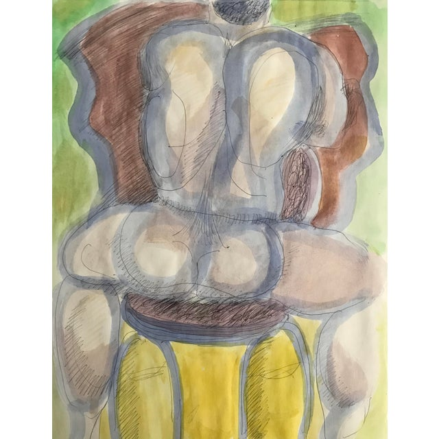 Figurative 1980s Male Nude Straddling a Chair Watercolor by James Bone For Sale - Image 3 of 3