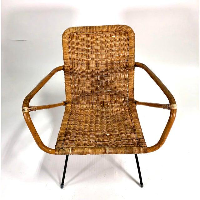 Boho Chic Mid Century Italian Rattan Lounge Chair For Sale - Image 3 of 12