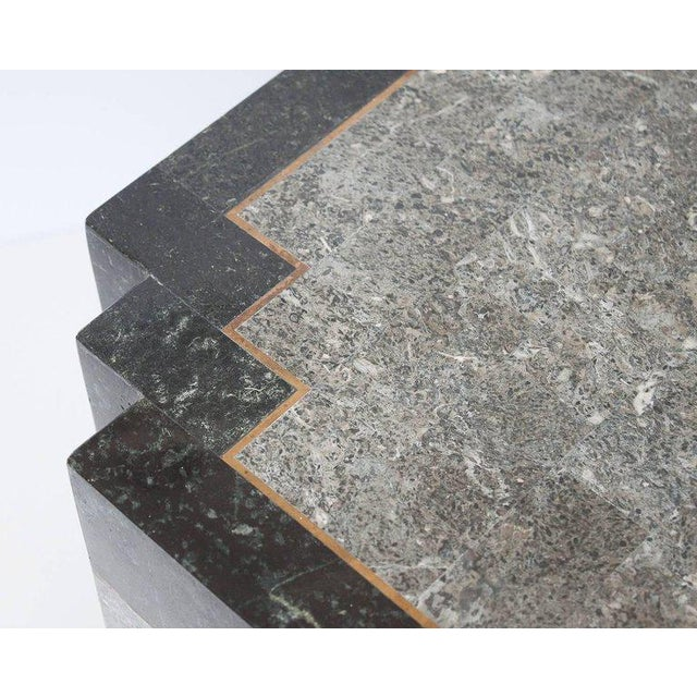 Black Maitland-Smith Tessellated Stone and Brass Side or End Table For Sale - Image 8 of 9