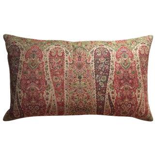 Vintage Wool Paisley Lumbar Pillow For Sale
