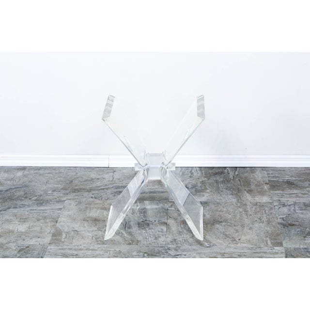 1970s Lucite Butterfly X Base Side Table For Sale - Image 5 of 10