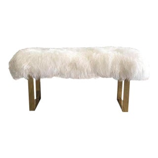 Hollywood Regency Large Mongolian Sheepskin and Brass Bench