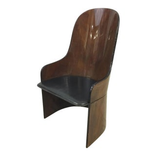 1980s European Art Deco Revival Chair With Leather Seat For Sale