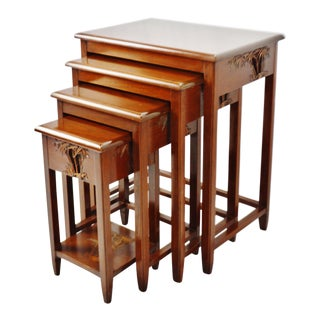 Vintage George Zee & Co. Carved Wood Chinese Nesting Tables