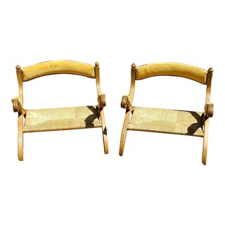 Antique Portuguese Wicker & Gold Suede Low Chairs- a Pair For Sale