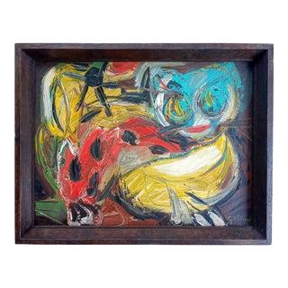 Mid 20th Century Cubist Cat Portrait Oil Painting, Framed For Sale