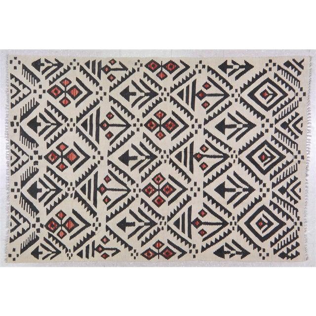 "2000 - 2009 Vintage Afghan Tribal Natural Color Hand Made Organic Wool Maimana Kilim,4'x5'9"" For Sale - Image 5 of 5"