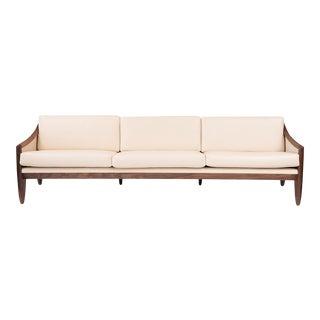 Mid-Century Modern Walnut & Leather Sofa For Sale