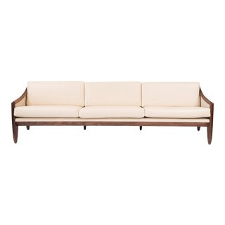 Walnut & Leather Sofa After Allen Ditson For Sale