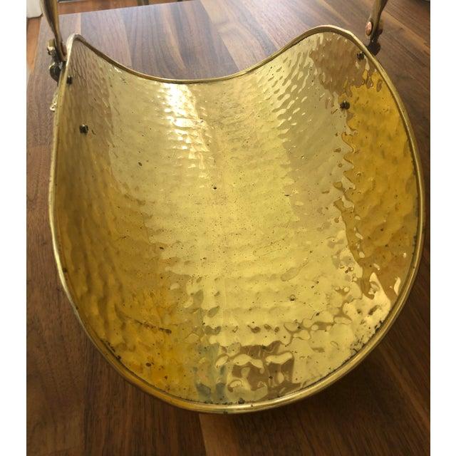 Vintage Hammered Brass Petite Hearth Log Carrier For Sale - Image 9 of 13