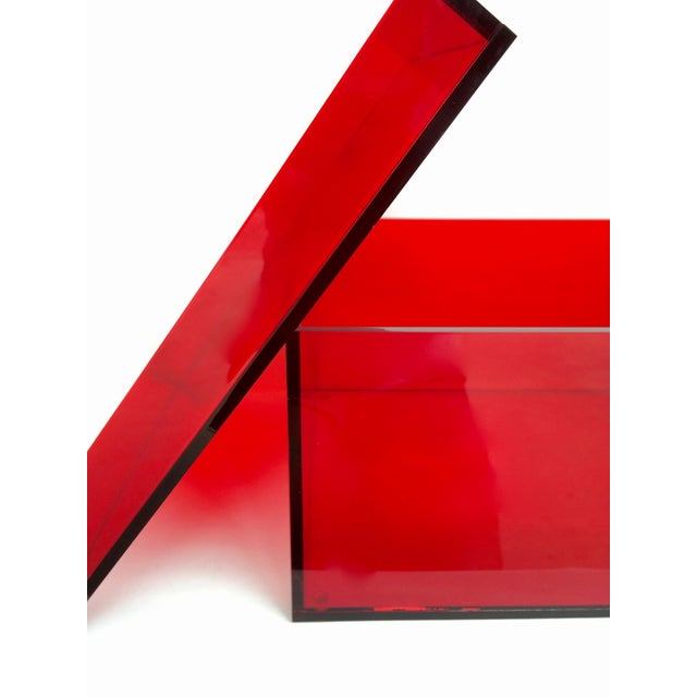 Vintage Red Acrylic Storage Box - Image 7 of 7