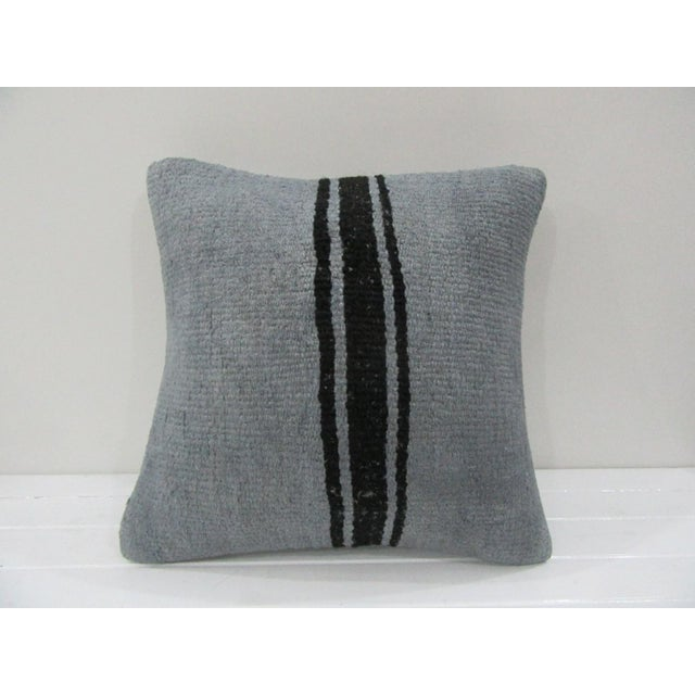 Handmade Vintage Striped Gray Turkish Kilim Pillow Cover For Sale - Image 4 of 4