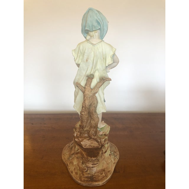 Yellow Large Antique Hand Painted Parian Porcelain Figure of a Girl For Sale - Image 8 of 13