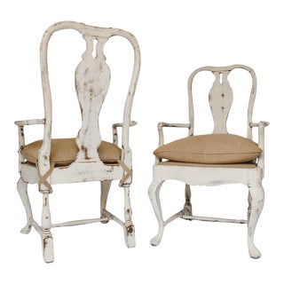 Pair of Antique Gustavian Painted Armchairs For Sale